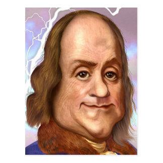 Benjamin Franklin-Karikatur Postkarte