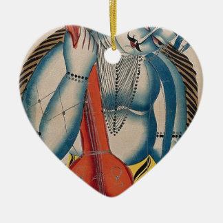 Berauschtes Shiva, das Lamm hält Keramik Herz-Ornament