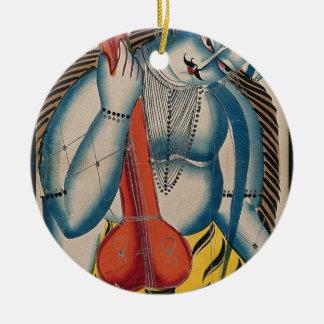 Berauschtes Shiva, das Lamm hält Rundes Keramik Ornament