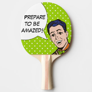 Bereiten Sie vor sich, überraschtes Comic-BuchPing Tischtennis Schläger