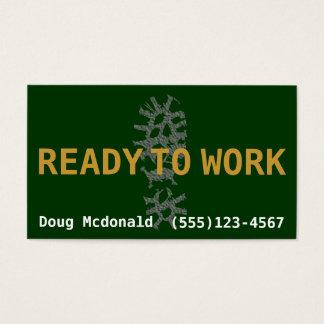 BEREITEN Sie vor, UM ZU ARBEITEN, nach Job.Make Visitenkarte