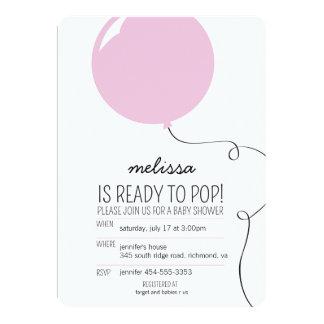 Bereiten Sie zum Pop-Rosa-Ballon-Mädchen vor, 12,7 X 17,8 Cm Einladungskarte