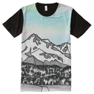 Berg Shasta Landschaftsillustration T-Shirt Mit Komplett Bedruckbarer Vorderseite