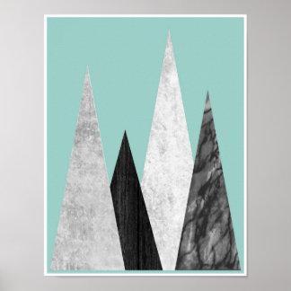 Berge, geometrischer, skandinavischer Plakatdruck Poster