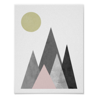Berge unter dem geometrischen Plakat Sun