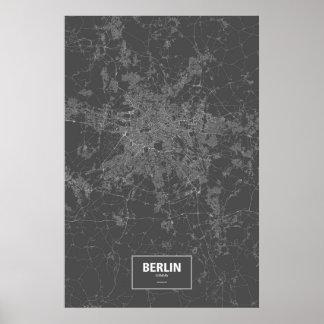 Berlin, Deutschland (weiß auf Schwarzem) Poster