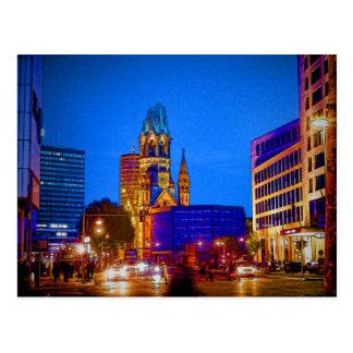 Berlin-Nachtleben - Kaiser Wilhelm Denkmal-Kirche Postkarte