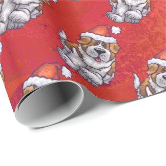 Bernhardiner im Hut-Muster auf Rot Geschenkpapier