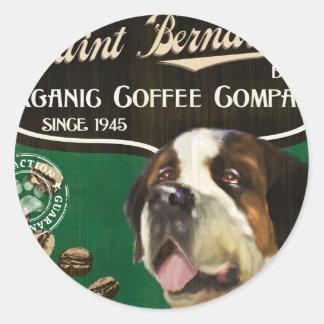 Bernhardiner-Marke - Organic Coffee Company Runder Aufkleber