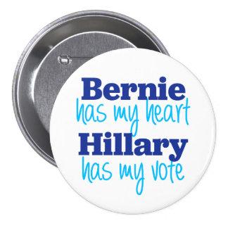 Bernie hat mein Herz, Hillary hat meinen Runder Button 7,6 Cm