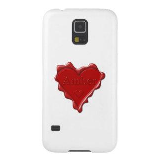 Bernsteinfarbig. Rotes Herzwachs-Siegel mit Samsung S5 Hüllen