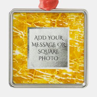 Bernsteinfarbiges geknistertes GlasFoto Silbernes Ornament