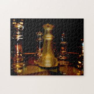 Bernsteinfarbiges Glasschach-Fotopuzzlespiel