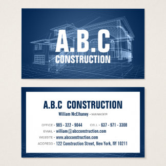 Beruflicher Bauunternehmen-Hausplan Visitenkarte