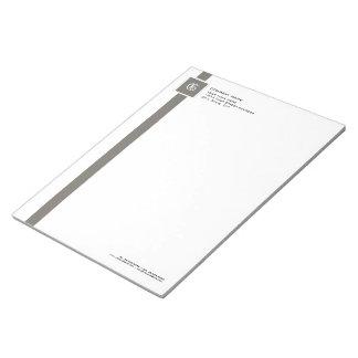Berufliches graues u. weißes Streifen-Monogramm Notizblock