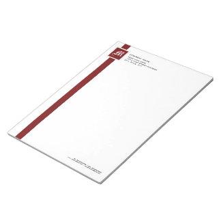"""Berufliches rotes u. weißes Streifen-Monogramm 11"""" Notizblock"""