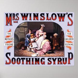 Beruhigender Sirup-Vintages Plakat Frau-Winslows