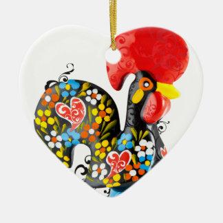 Berühmter Hahn von Barcelos Nr 06 - Blumenausgabe Keramik Herz-Ornament