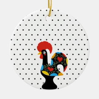 Berühmter Hahn von Barcelos Nr 09 - Tupfen Rundes Keramik Ornament