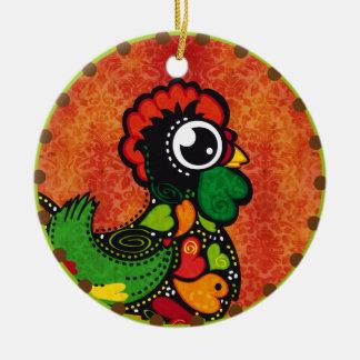 Berühmter Hahn von Barcelos Nr. 4 Vintag Rundes Keramik Ornament