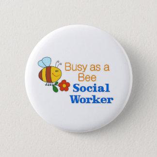 Beschäftigte Bienen-Sozialarbeiter Runder Button 5,1 Cm