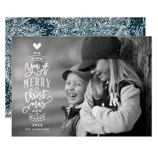 Beschriften frohe Weihnacht-glücklicher Foto-Karte Karte