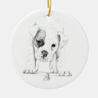 Bessern Sie einen Boxer-Welpen aus, der Kunst Keramik Ornament