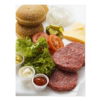 Bestandteile für Cheeseburger Postkarte