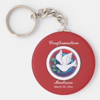 Bestätigung, Taube bunt, runde Geschenke, Schlüsselanhänger