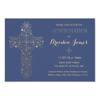 Bestätigungs-Einladung - Goldkreuz laden ein 8,9 X 12,7 Cm Einladungskarte