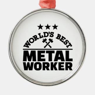 Beste Arbeitskraft der Welt Metall Rundes Silberfarbenes Ornament