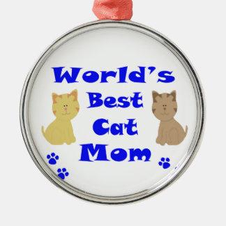 Beste die Katzen-Mamma der Welt Silbernes Ornament