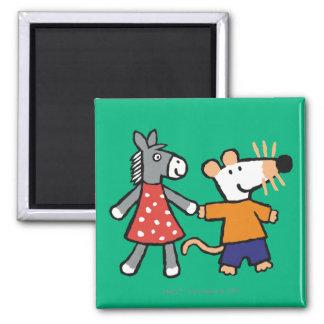 Beste Freunde Maisy und Dotty Griff-Hände Quadratischer Magnet
