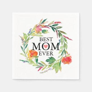 Beste Mamma-Überhaupt-Bunter BlumenWreath Papierserviette