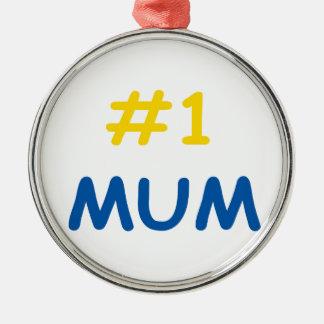 beste Mutter der Mama #1 Silbernes Ornament