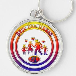 Beste Vati-Preis-Regenbogen-Familie Silberfarbener Runder Schlüsselanhänger