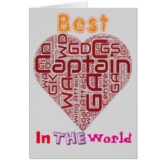 Bester Netball-Kapitän Netball Heart Design Grußkarte