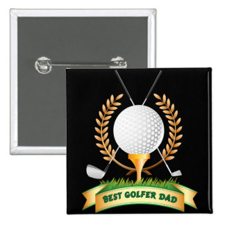 Bestes der Vatertags-Knopf-Button Golfspieler-Vati