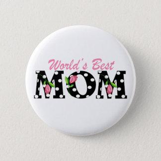 Bestes die Mamma-Schwarzes der Welt mit rosa Runder Button 5,1 Cm