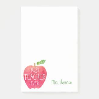 Bestes Lehrer-überhaupt kundengebundenes rotes Post-it Klebezettel