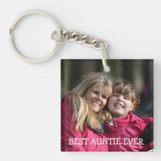 Bestes Tante überhaupt personalisiertes Foto Schlüsselanhänger