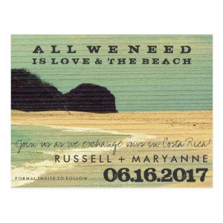 Bestimmungsort-Strand-Hochzeits-Save the Date Postkarte