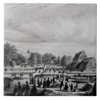 Besucher, die das Palmen-Haus an Kew Palast, c.1 Keramikfliese