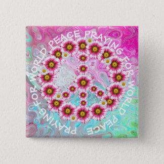 Beten für Weltfriedenszeichen-Blumenknopf Quadratischer Button 5,1 Cm