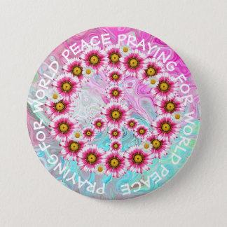 Beten für Weltfriedenszeichen-Blumenknopf Runder Button 7,6 Cm