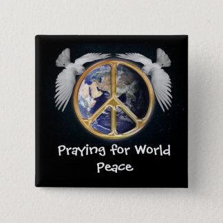 Beten für Weltfriedenszeichen-Tauben-Knopf Quadratischer Button 5,1 Cm