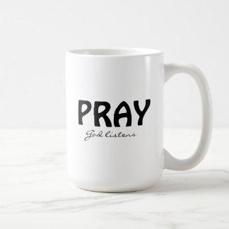 Beten Sie klassische weiße Tasse