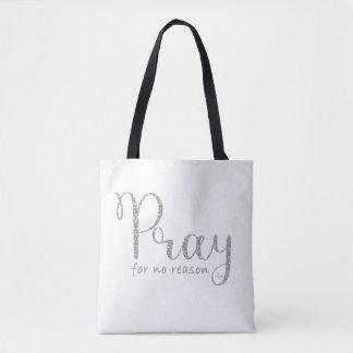 Beten Sie silbernen Glitter und graue Tasche