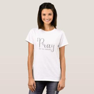 Beten Sie silbernes Glitter-Grau T-Shirt