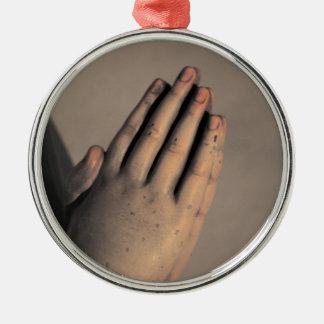 Betende Hände Rundes Silberfarbenes Ornament